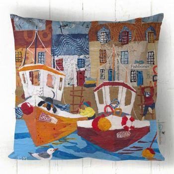Fishbones & Boats - Fun Coastal Cushion