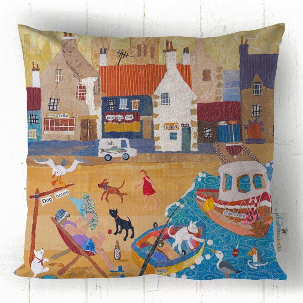 In the Doghouse - Busy Beach Scene Cushion