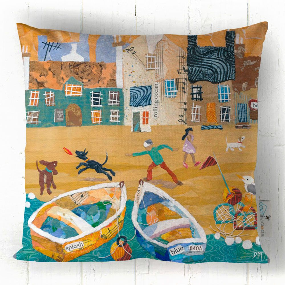 Fun on the Beach - Joyful Beach Scene Cushion