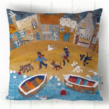Walking the Dogs - Dogs on the Beach Cushion