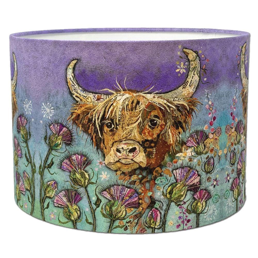 Highland Cow & Thistle Scottish Lampshade