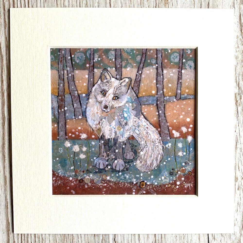 Arctic Fox Mini Mounted Print