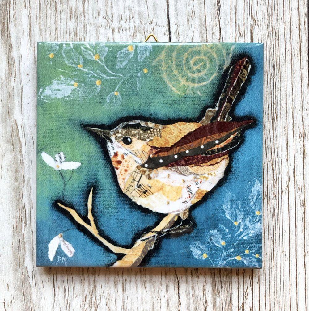 Wren on Aqua - Boxed Mini Ceramic Tile