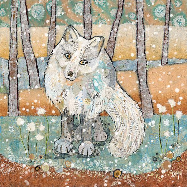 Arctic Fox in Snow Mini Mounted Print