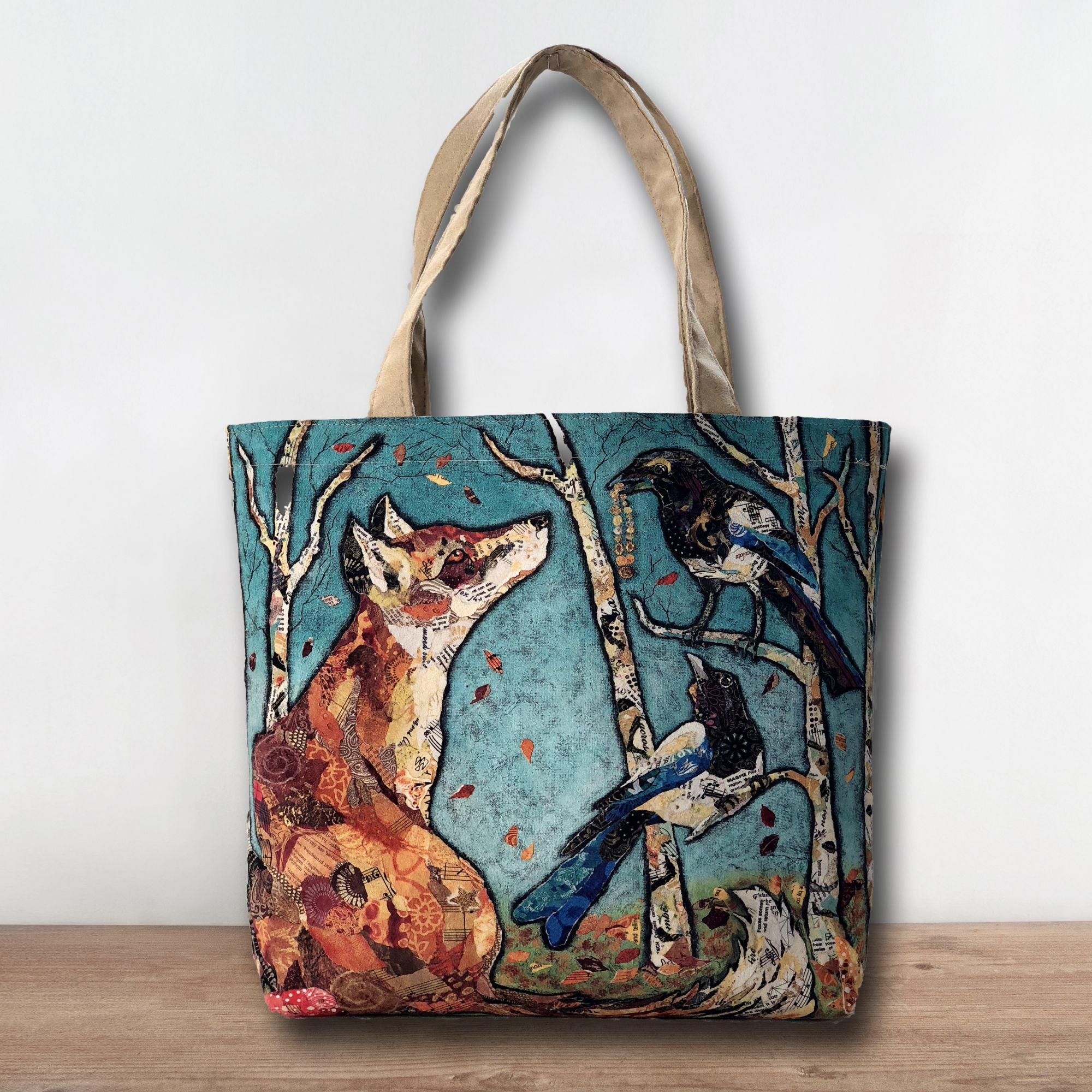 fox and magpie tote bag