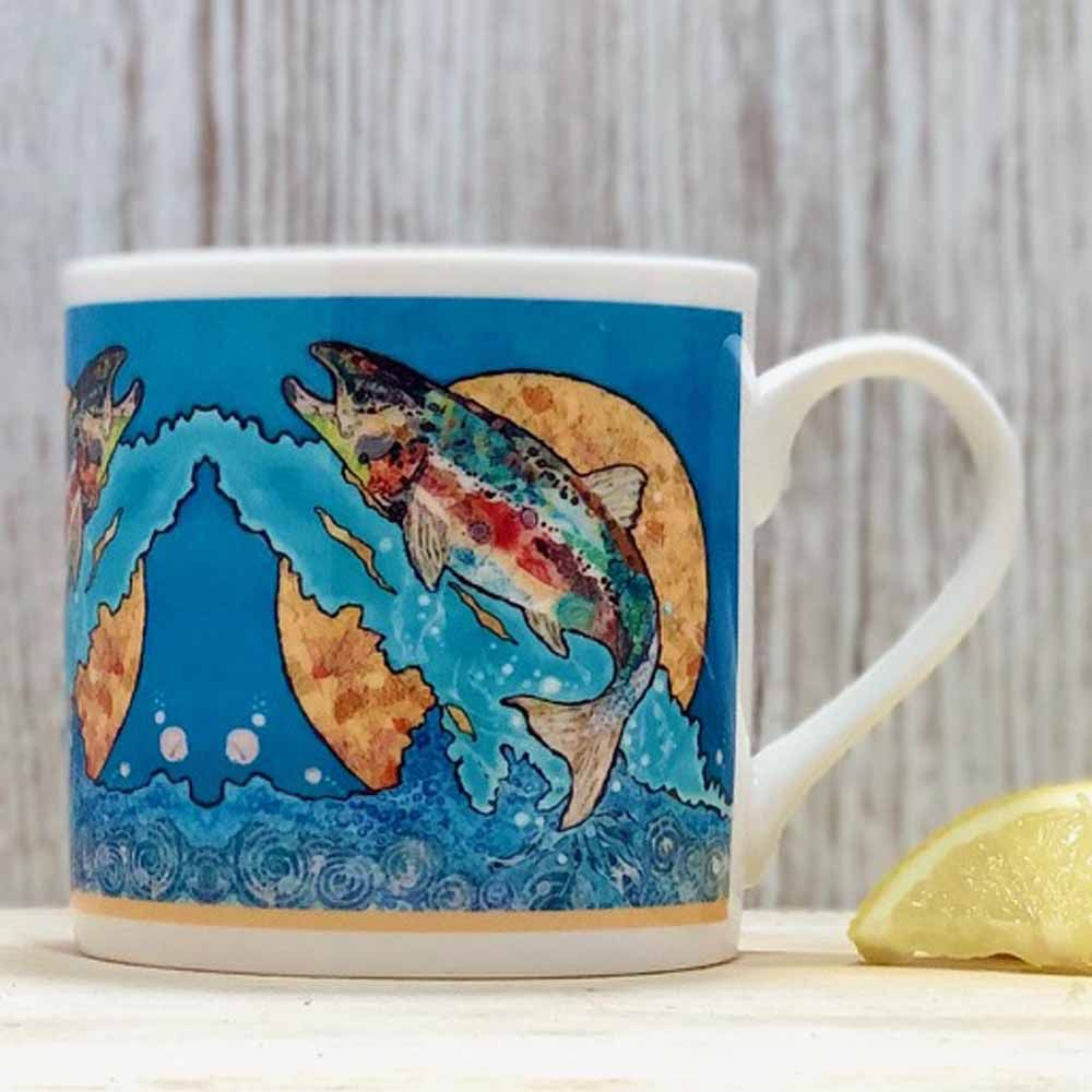 Salmon Leap on Blue Mug - B Grade (SECONDS)