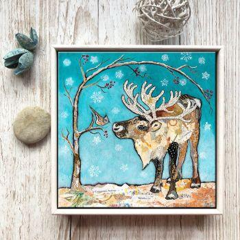 "Reindeer & Bird - 6"" Ceramic Print"
