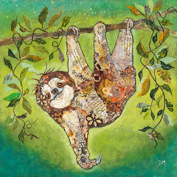 Hang in There - Torn Paper Sloth Original