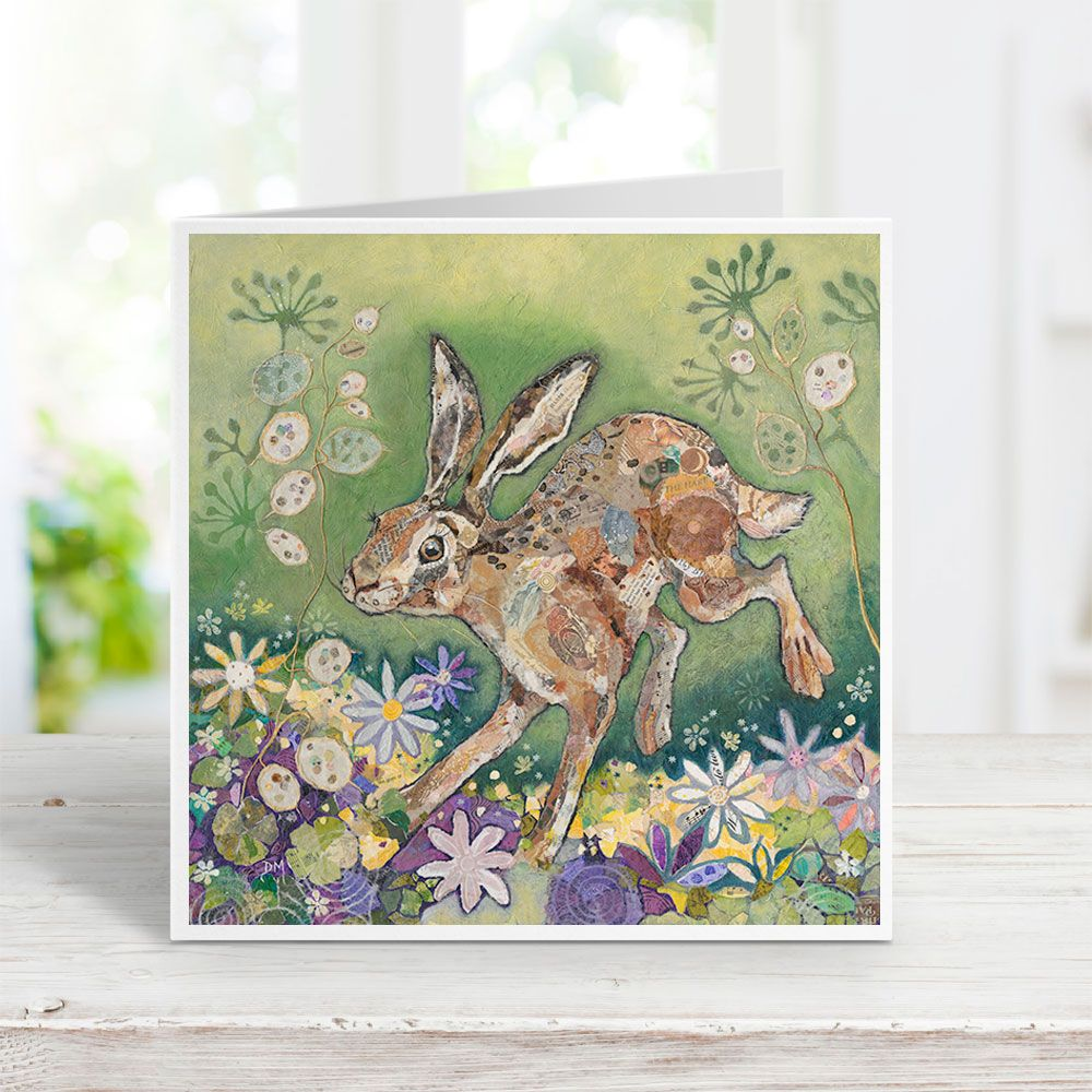 leaping hare art greetings card