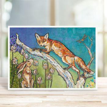 Aesop's Garden - Fox & Hare Card