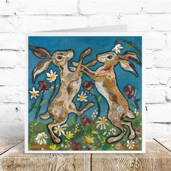 Hare Waltz - Boxing Hares Card