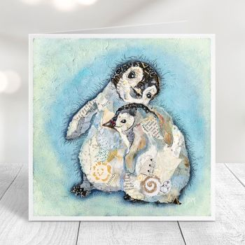 The Hug - Baby Penguins Card