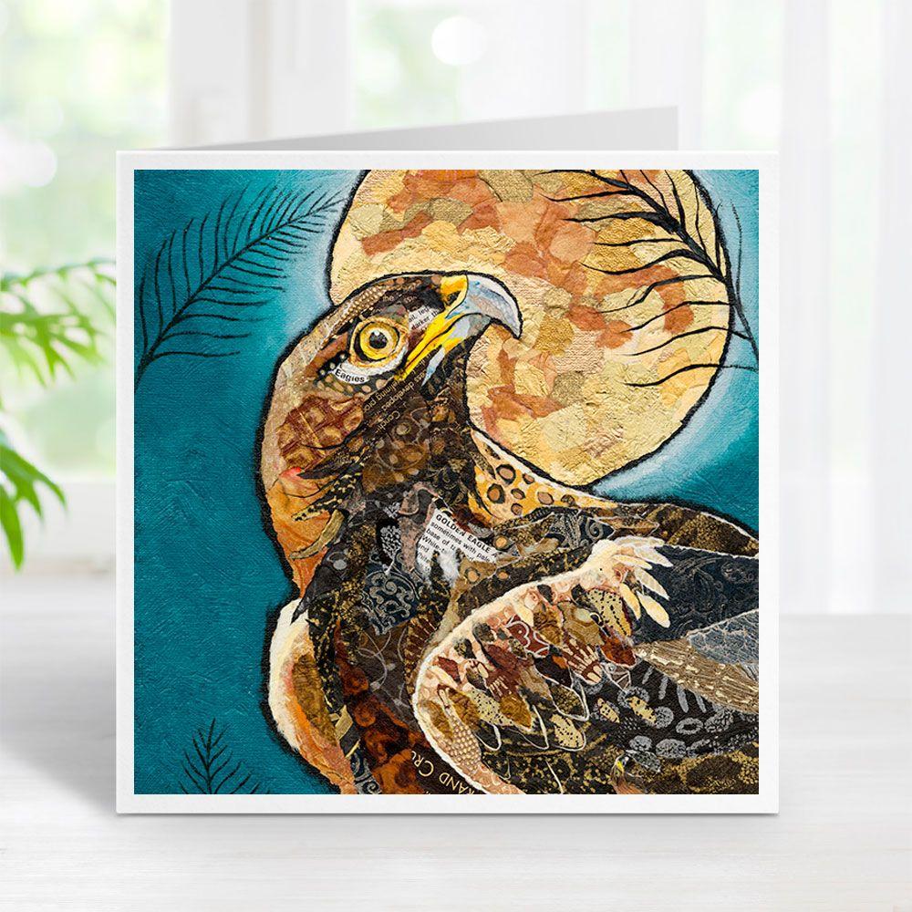 Golden Eagle & Moon Art Greetings Card