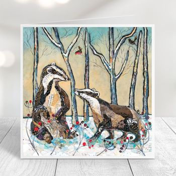 Badgers in Winter Card