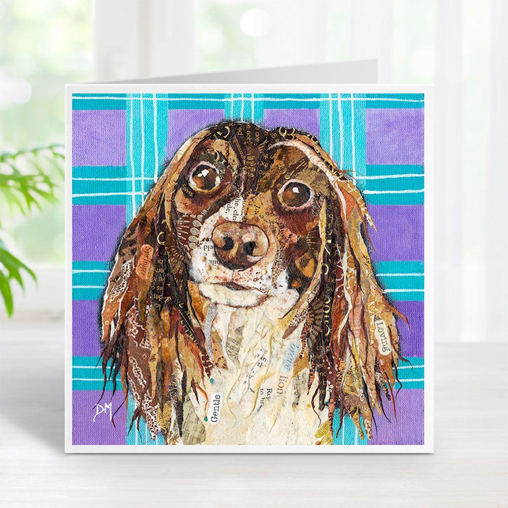Springer Spaniel Dog on Tartan Background Art Greetings Card