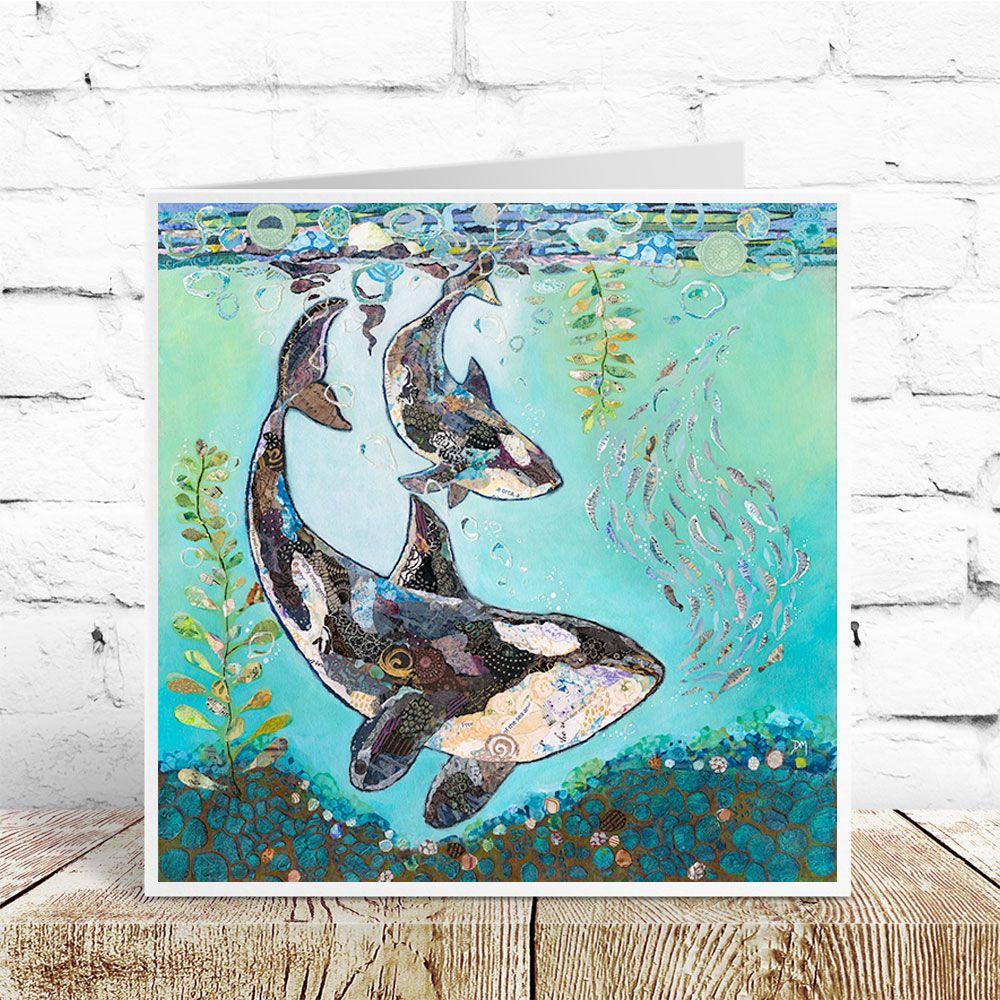 Orca Killer Whale and Calf in Underwater Scene Art Greetings Card