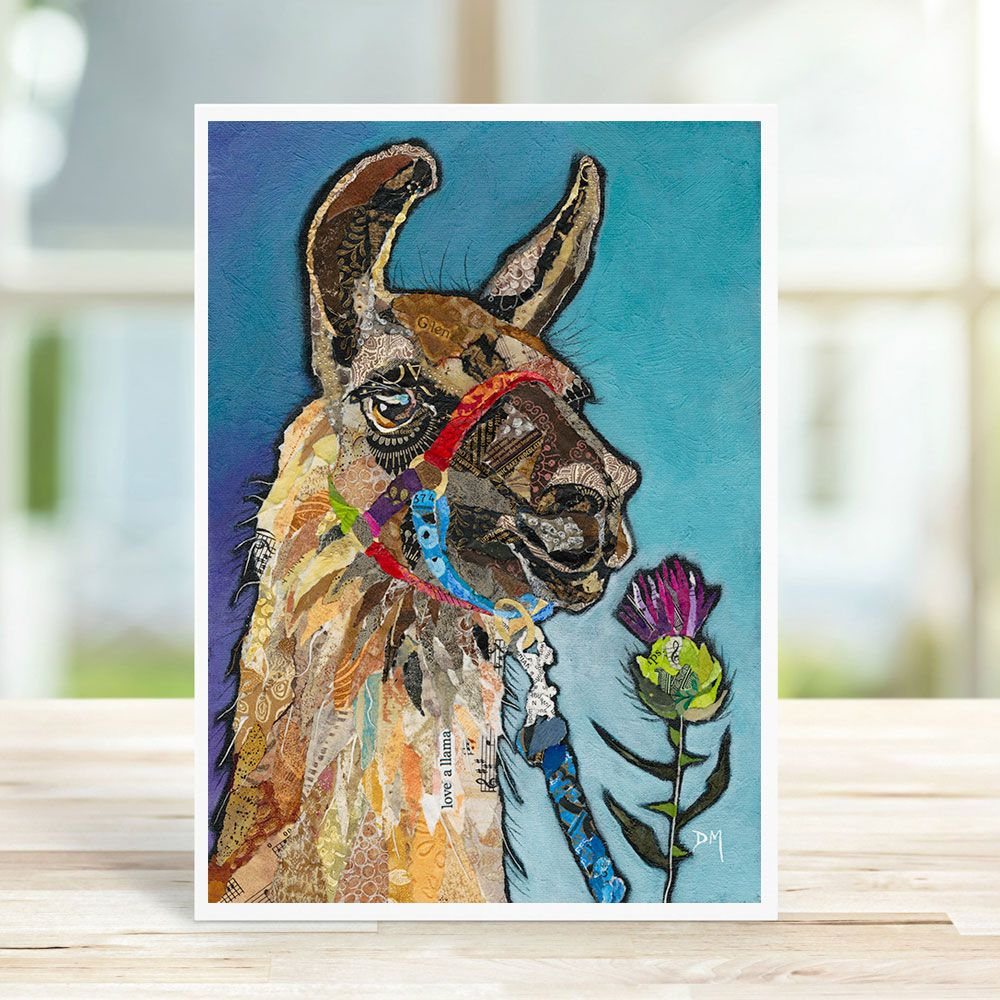Llama and Thistle on Blue Background Torn Paper Art Printed Card