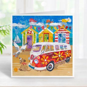 Hippy Campervan on the Beach - Card