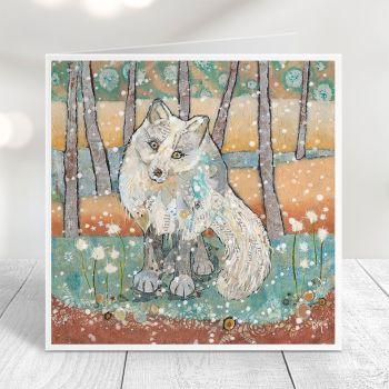 Arctic fox with snow Card