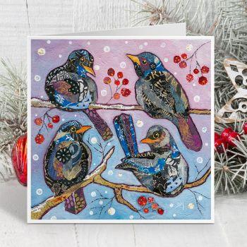 Four Colly Birds Card