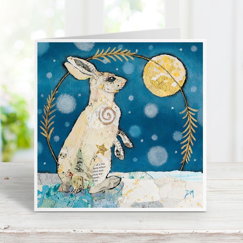 Mountain Hare Looking at Moon in Snowy Scene Greetings Card