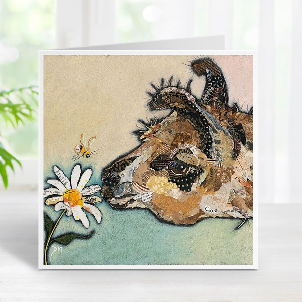 Llama Smelling a Flower with Bumble Bee Torn Paper Art Printed Card