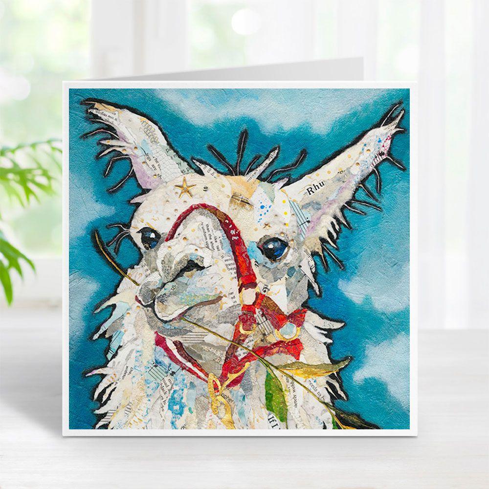 Llama Rhu Eating Grass on Blue Background Torn Paper Art Printed Card