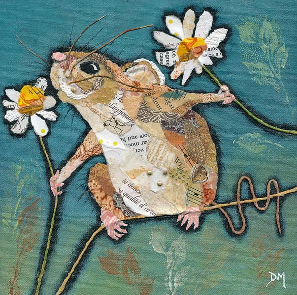 Mouse Smelling Flower Art Print