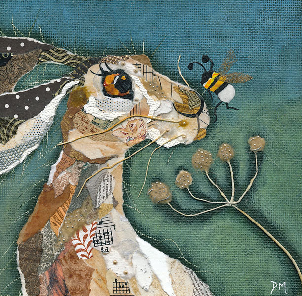 Hare & Nosey Bee Art Card