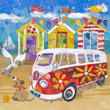 Hippy Campervan on the Beach - Medium Print