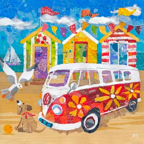 Hippy Campervan on the Beach