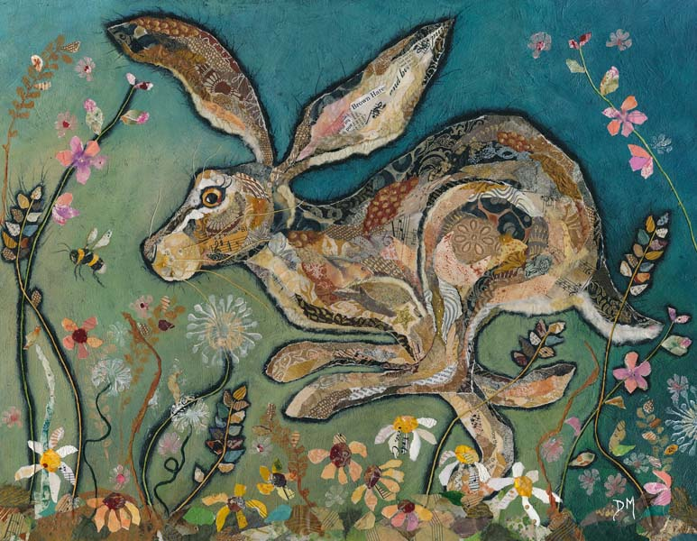 Running Hare in Flowers Print