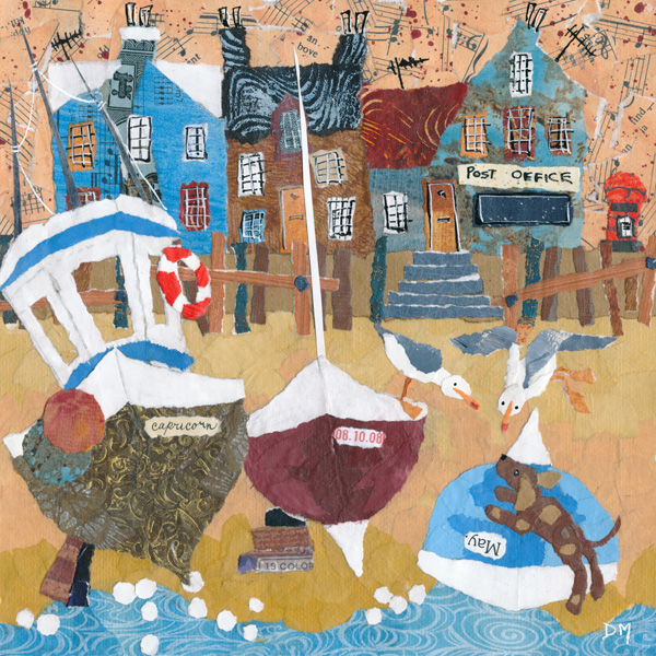 Naive Beach Scene with Boats, Dogs and Seagulls Greeting Card
