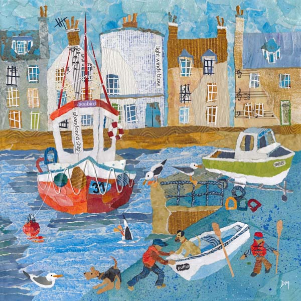 St Monans Harbour with Boats, Dogs and Children Art Greetings Card