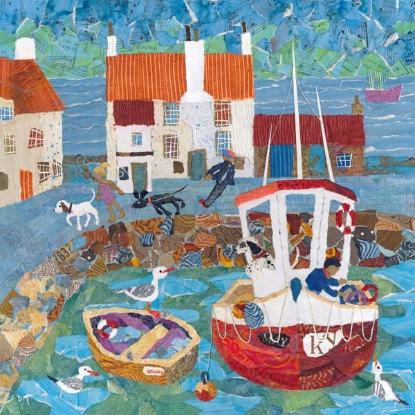 Pittenweem Harbour with Boats, Dogs and Gulls  Art Greetings Card