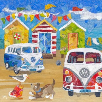 Two Campervans on the Beach - Card