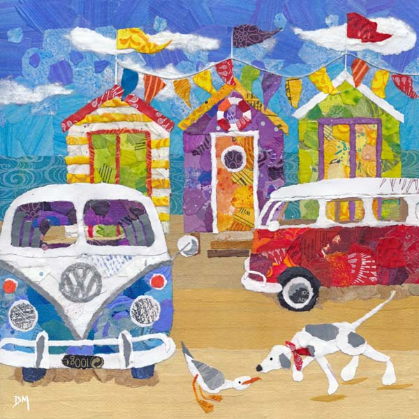Campervans on Beach with Dog, Seagull and Beach Tents Art Greetings Card