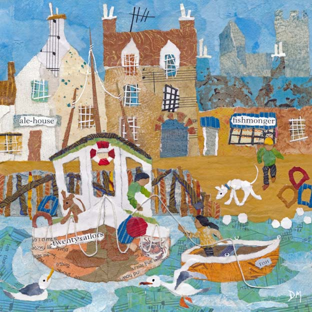 Coastal Harbour Scene with Fishing Boats and Seagulls Art Greetings Card