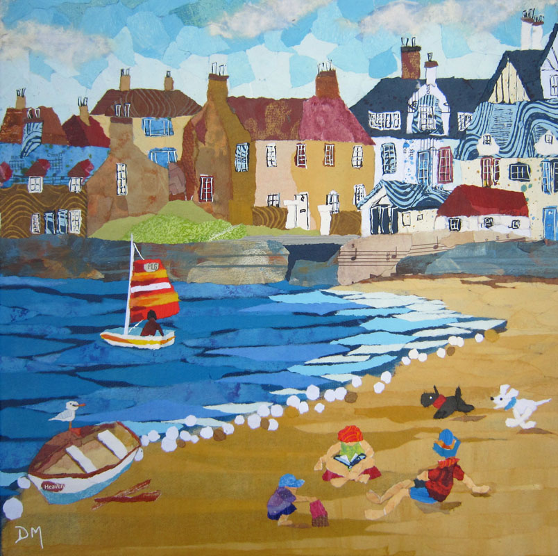 Elie Beach with Boats and Dogs Greetings Card