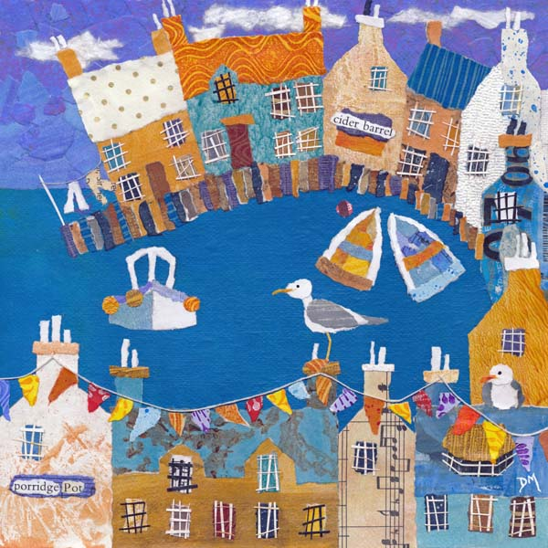 Coastal Greetings Card with Boats, Seagull and Bunting
