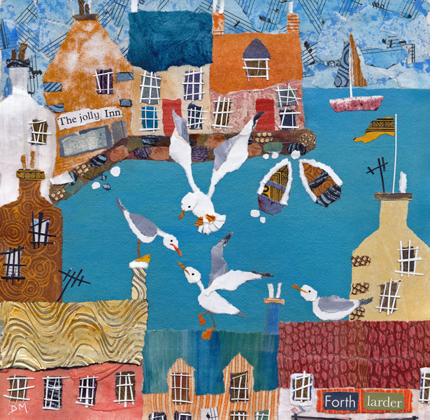 Naive Coastal Harbour Scene with Grumpy Gulls Greeting Card