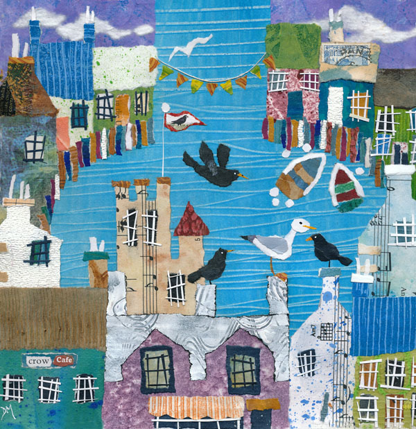 Naive Coastal Scene with Seagulls and Harbour Houses Greetings Card