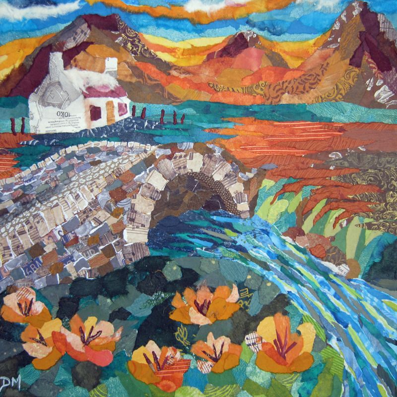 Scottish Bothy and Bridge Art Greetings Card