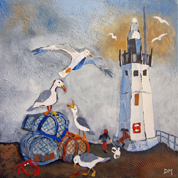Anstruther Lighthouse and Seagulls Torn Paper Art Printed Card
