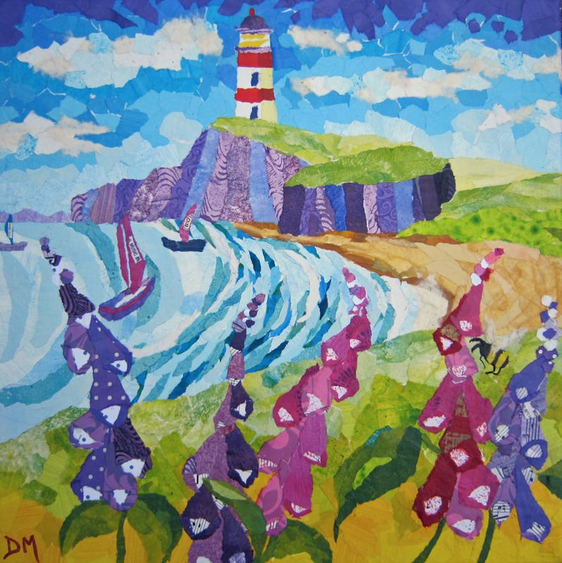 Summery Coastal Scene with Boats Sailing, Cliffs, Flowes and Lighthouse Gre