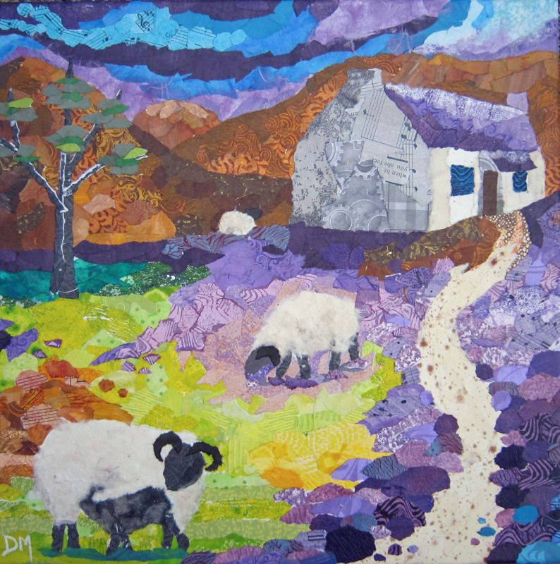 Scottish Bothy with Purple Heather and Sheep Art Greetings Card