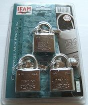 3pcs IFAM 30mm KEYED ALIKE PADLOCKS IN SINGLE BLISTER PACK.