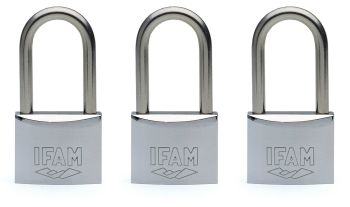 3pcs IFAM 50mm KEYED ALIKE LONG SHACKLE MARINE PADLOCKS - SALT SPRAY TESTED.
