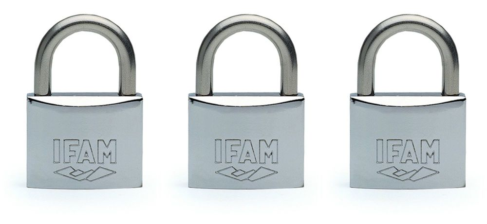 3pcs IFAM 50mm KEYED ALIKE STANDARD SHACKLE MARINE PADLOCKS - SALT SPRAY TE