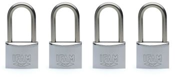 4pcs.IFAM 30mm KEYED ALIKE LONG SHACKLE MARINE PADLOCK. SALT SPRAY TESTED.